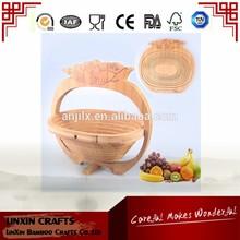TT-021301-G Eco-friendly bamboo tomato shape folding fruit basket for storage