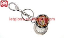 Good quality zinc alloy chip shaped small keychain clock