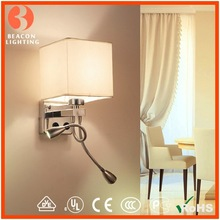 factory direct sale cheap price fabric shade on/off switches modern hotel wall reading lamp flexible with two led tails MW8306-3