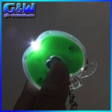 Promotional Plastic Led keyring Light Mini Green Apples Shaped chain for Cheap Wholesale