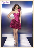 burgundy one shoulder strap short taffeta rosettes one piece teenage girls party dresses 2013