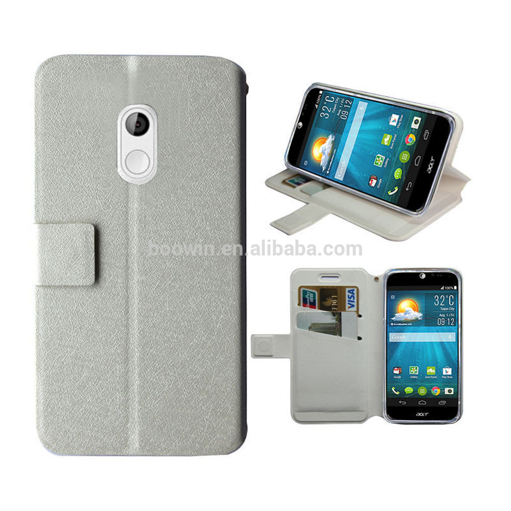 White Wallet Leather Case For Acer Liquid Z200 Case Silk ...