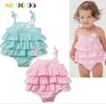 Yeni varış lolita tarzı! 2015 şirin yazlık yeşil ve pembe renk etek kız bebek güzel elbise
