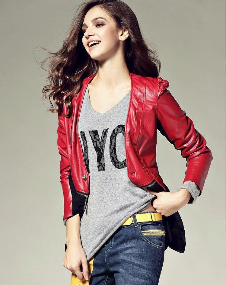 wholesale 2015 high fashion women luxury designer brand leather jacket