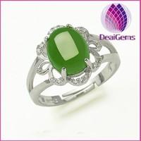 925 silver inlaid natural hetian jade jade stone spinach green crystal ring