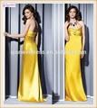 Dernière conception 2015 superbes, longue sirène robes de demoiselle d'honneur en queue de poisson en or jaune avec un arc