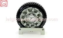 Wholesale zinc alloy Wheel Shaped table Clock