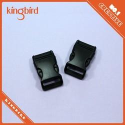 Black plastic curved side release buckle for plastic bag buckle