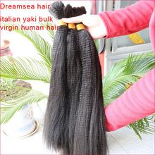 Virgin mongolian human hair coarse yaki straight hair bulk unprocessed