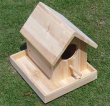 Outdoor or indoor platform wooden bird house