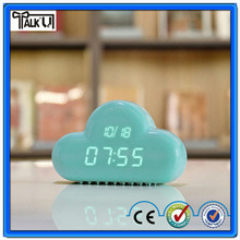 new Digital Geometric Alarm Clock Muid Voice-activated desktop backlight time date cloud clock/Cloud Shape Kids Alarm Clock
