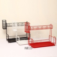 NACHUAN Iron Coated 2 Tiers Kitchen Storage Plate Rack Dish Drying Rack With Tray