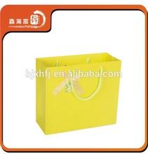 fashion custom recycled lemon yellow paper bag