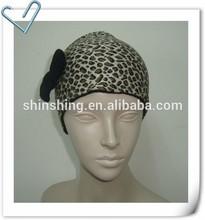 Ladies Jersy Leopard Print Headband With Bow & Fleece Lining
