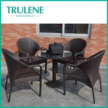 outdoor pe rattan garden dining/ patio furniture 4 seater rattan dining set