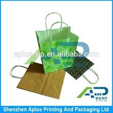 No logo cheap price kraft paper carry bag, free design printing kraft paper bag with twist paper handle