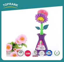 Multi function floral dish scrub brush with holder