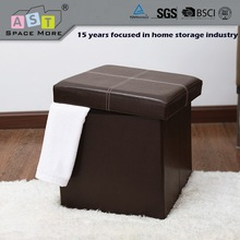 Modern folding Half-PU Leather storage ottoman
