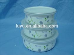 Food bowl enamel bowl with lid