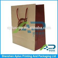 2015 Hot sell nature brown kraft paper bag, nature kraft paper shopping bag with logo printing