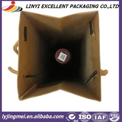 red wine packing kraft paper bag with handle