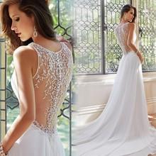 Sexy Deep V-neck A-line Rhinestone Chiffon Court Train White/Ivory Wedding Dress 2015