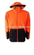 2015 newest DFH-Z005 100% polyester fleece 300g hi-vis orange/navy sweater hoodie
