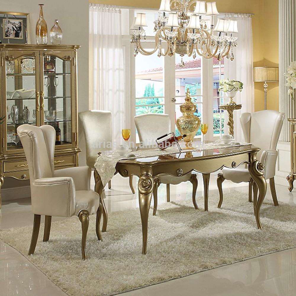 nieuwe klassieke antieke ronde eettafel en stoelen houten