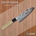 padrão de damasco faca de cozinha japonesa com punho de madeira