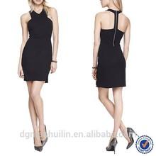 2015 Best selling Ladies Beautiful Black Mini Bodycon Dress Latest Design For Women Wear