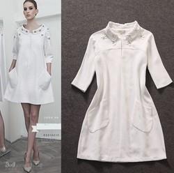 Best Quality!New Runway Fashion Autumn Dress 2015 Women Jacquard Cotton Beads Casual Big Pocket Loose Pattern White Dress XL