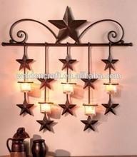 Rustic Barn Star Cheap Metal Crafts Wrought Iron Tea Light Wall Sconce