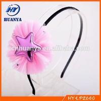 New!! Children cute mesh hairbands with PU stars lace headbands Korean baby star headbands birthday party hairwear