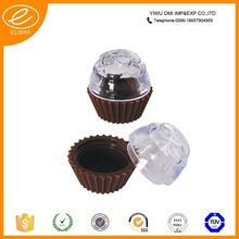 special design cake cup shaped empty lip balm container plastic lip balm container