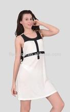 The Merino wool sleeveless white and black dress of women