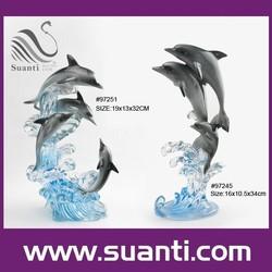 2015 modern decorative sea animal resin dolphin statues