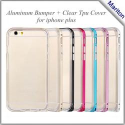 "Dual Layer Luxury Aluminum Metal Bumper & TPU Back Case Cover For Iphone 6 Plus 5.5"""