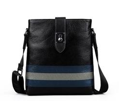 High capacity large vertical leather laotop messenger bag for men
