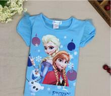high quality children cartoon frozen elsa t shirts for 2-10 years kids t shirt wholesale cheap tops t shirts