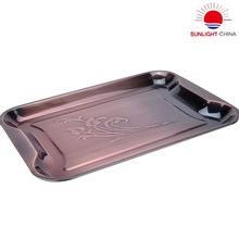 electroplated stainless steel serving tray/stainless steel square tray with antique brass surface/metal fruit plate