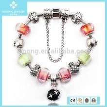 Newest Vogue Design Black Beads Pendent 925 Sterling Silver Bracelet Wholesale