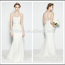 White Sheath Sweetheart Trasparent Zipper Back Customized Brides Gowns Wedding Dresses WDB016 Beach Wedding Dress