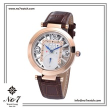 Rose Gold Stainless Steel Genuine Leather Strap Water resistant Skeleton Quartz Watch