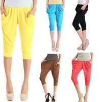 Fashion Lady's Colorful Drape Harem Pants Hip-Hop teen short pants Shorts 5 Colors 3728