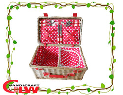 new design handmade cheap wholesale wicker picnic basket with coolbag food basket four persons Beige straps or red polks dot