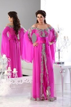 New Real Models 2015 Lace Beaded Plus Size Rhinestones A Line Chiffon Long Sleeve Arabic Evening Dress Dubai Kaftan