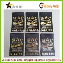 2015 Super quality washable satin fabric shiny gold stamping handbag logo labels
