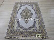 light color silk muslim carpet hand knotted silk rug for living room