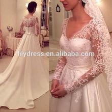 Long Lace Sleeves Satin A line Floor Length Custom Make Long Formal Bridal Robe De Mariee CBW074 gown wedding long sleeve