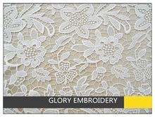 Big flower design white embroidered polyester chemical lace